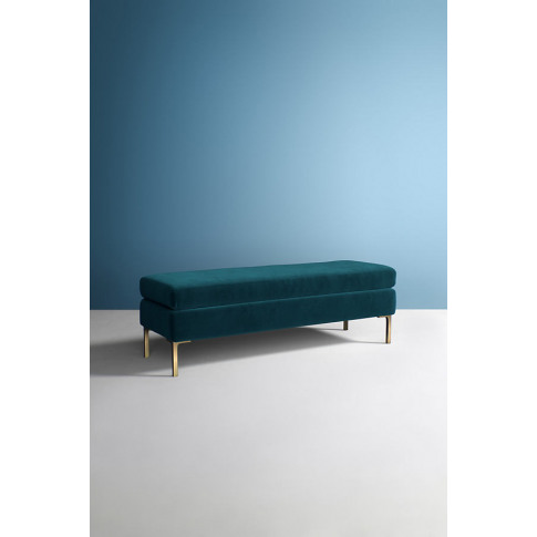 Edlyn Velvet Bench - Blue