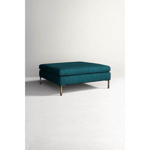 Edlyn Grand Linen Ottoman - Blue