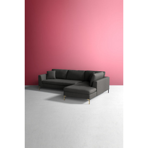 Edlyn Right Corner Sofa, Wool - Grey