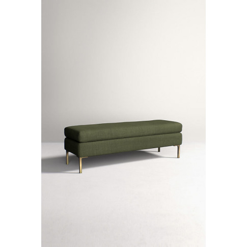 Edlyn Bench, Performance Linen - Green