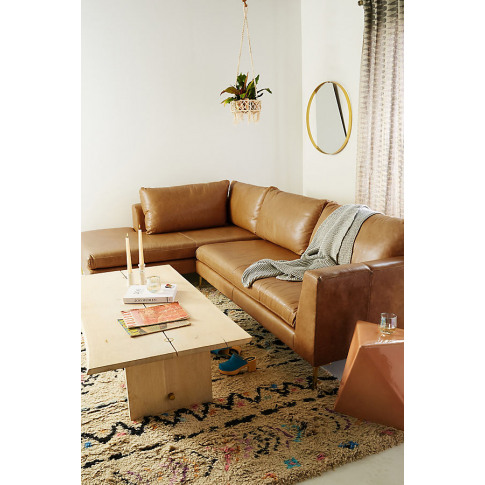 Edlyn Left Arm Corner Sofa, Leather - Gold
