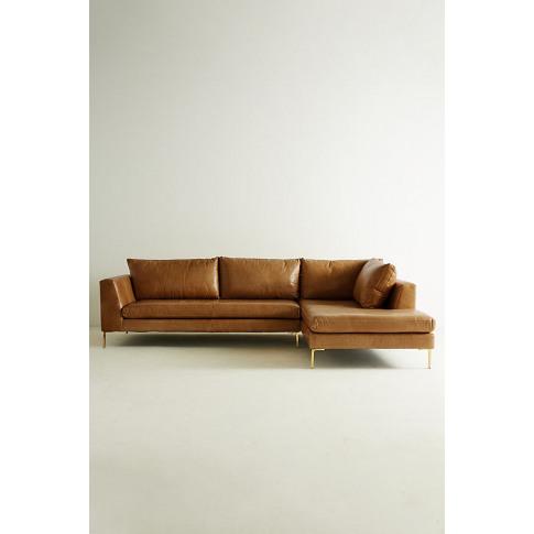 Edlyn Right Arm Corner Sofa, Leather - Gold