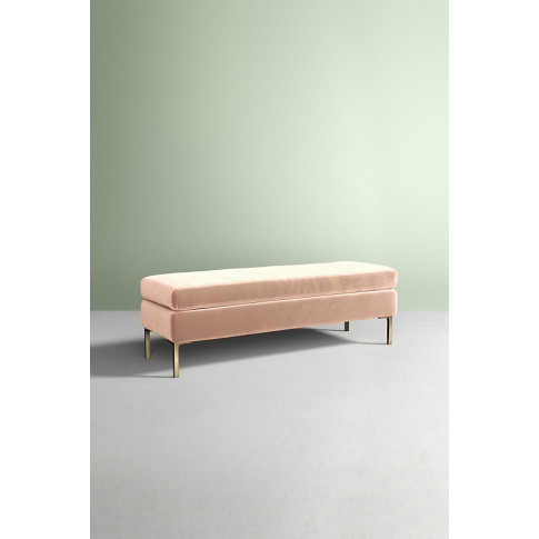 Edlyn Slub Velvet Bench - White