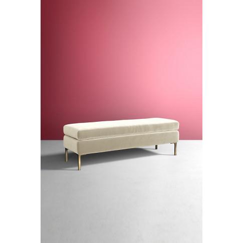 Edlyn Slub Velvet Bench - White