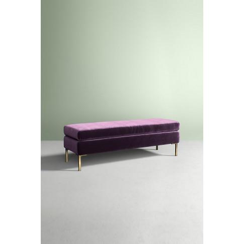 Edlyn Slub Velvet Bench - Purple