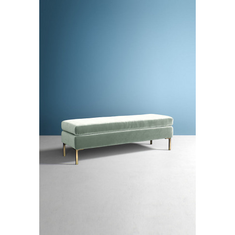 Edlyn Slub Velvet Bench - Mint
