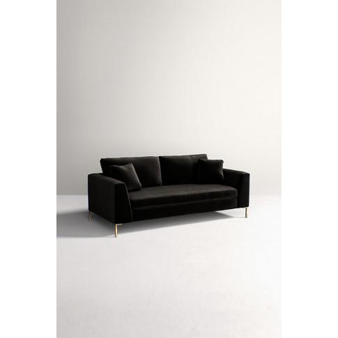 Edlyn Slub Velvet Sofa - Black