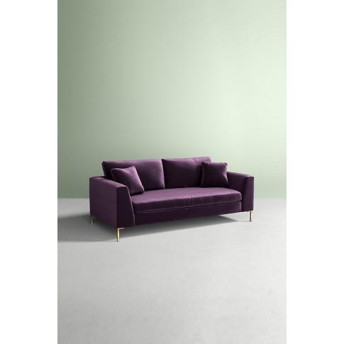 Edlyn Slub Velvet Sofa - Purple