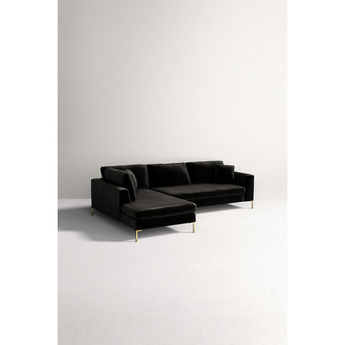 Edlyn Left Arm Corner Sofa, Slub Velvet - Black