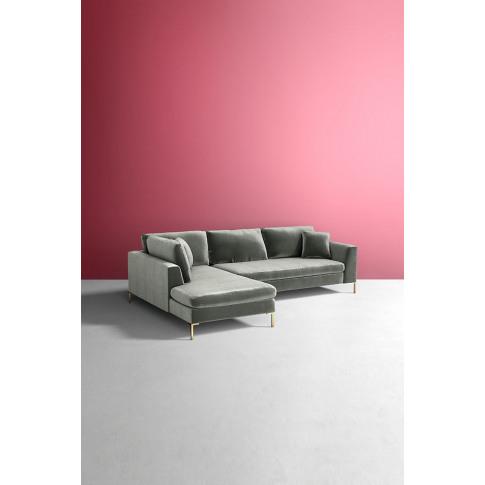 Edlyn Left Arm Corner Sofa, Slub Velvet - Blue