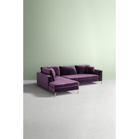 Edlyn Left Arm Corner Sofa, Slub Velvet - Purple