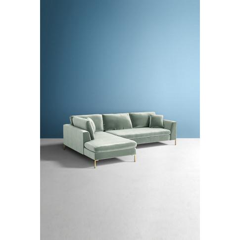 Edlyn Left Arm Corner Sofa, Slub Velvet - Mint
