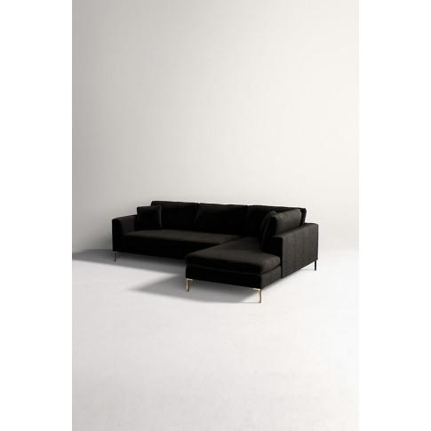Edlyn Right Arm Sectional Slub Velvet Sofa - Black