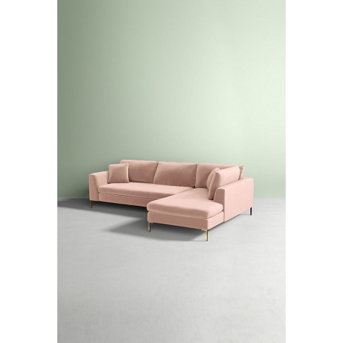 Edlyn Right Arm Sectional Slub Velvet Sofa - White