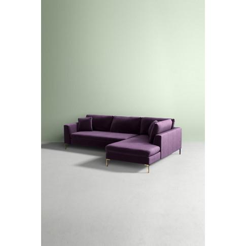 Edlyn Right Arm Sectional Slub Velvet Sofa - Purple
