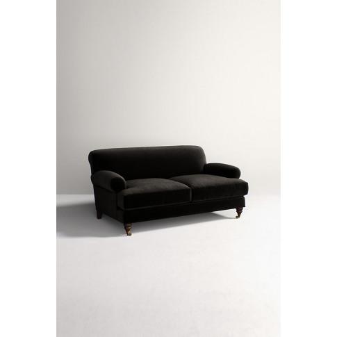 Willoughby Slub Velvet Sofa, With Hickory Leg - Black