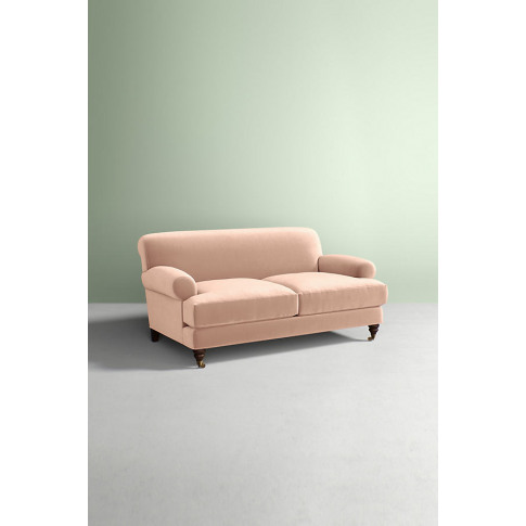 Willoughby Slub Velvet Sofa, With Hickory Leg - White