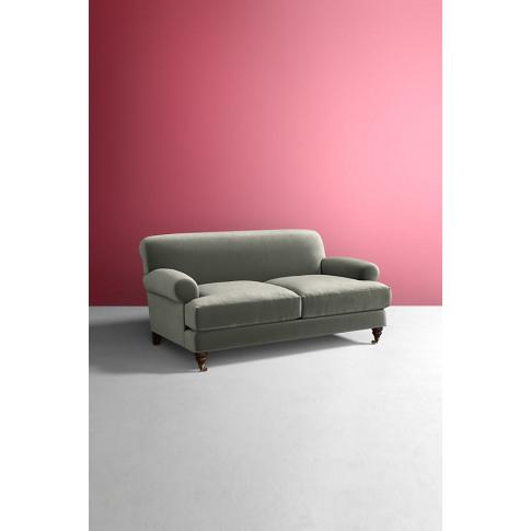 Willoughby Slub Velvet Sofa, With Hickory Leg - Blue