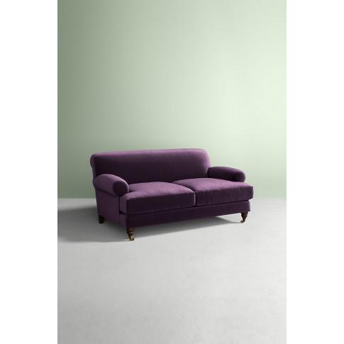 Willoughby Slub Velvet Sofa, with Hickory Leg - Purple