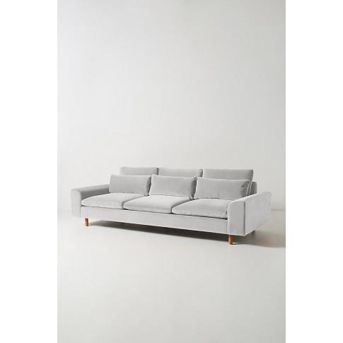 Mirren Four-Seater Velvet Sofa - Grey