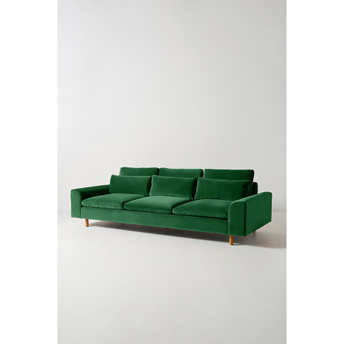 Mirren Four-Seater Velvet Sofa - Green
