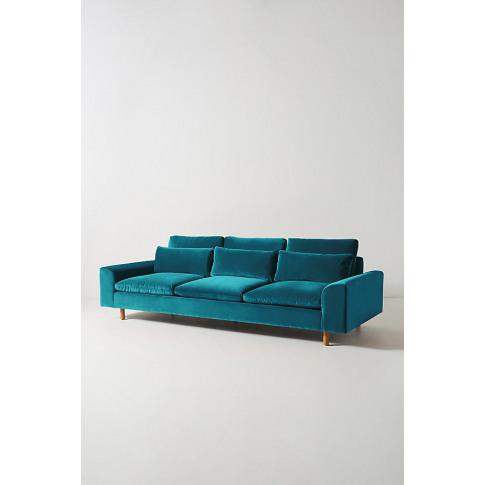 Mirren Four-Seater Velvet Sofa - Blue