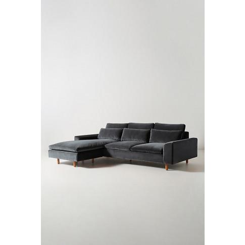 Mirren Velvet Chaise Sofa - Grey