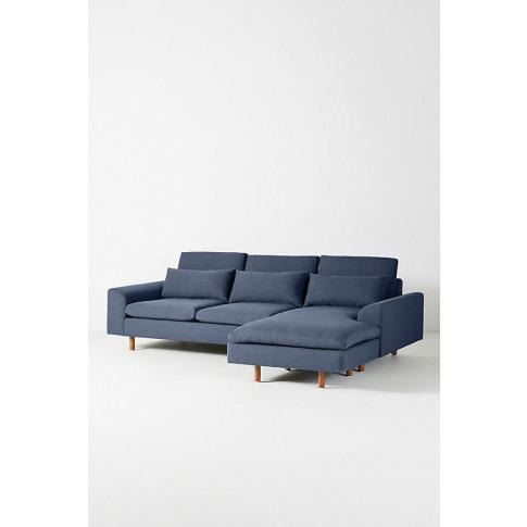 Mirren Chaise Sofa, Performance-Linen - Blue