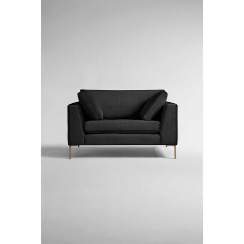 Edlyn Slub-Velvet Sofa - Black, Size L