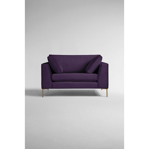 Edlyn Slub-Velvet Sofa - Purple, Size S