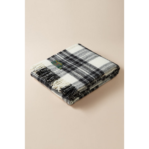 Tweedmill Checked-Wool Throw Blanket - White