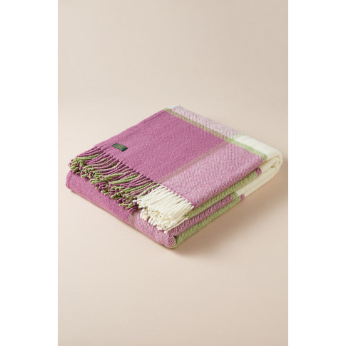 Tweedmill Plaid-Wool Throw Blanket - Pink