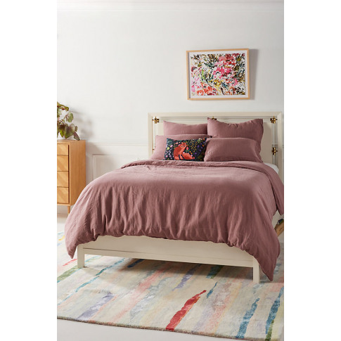Stitched Linen Duvet Cover - Pink, Size Full