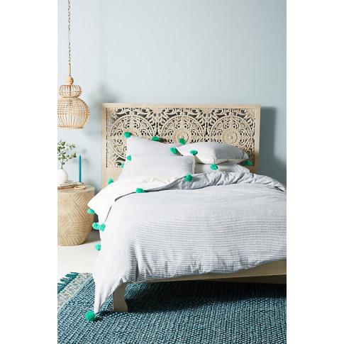 Tasselled Ambleside Duvet Cover - Blue, Size Full