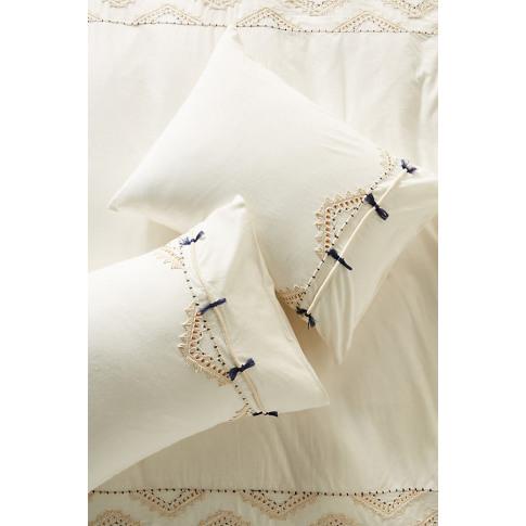 Vineet Bahl Embroidered Romula Pillowcases - White, ...