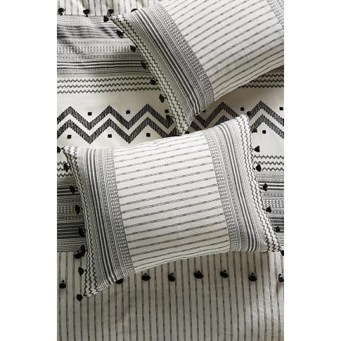 Set Of 2 Embellished Pendana Pillowcases - Black, Si...