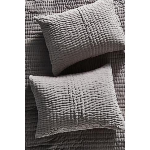 Set Of 2 Kantha-Stitched Velvet Pillowcases