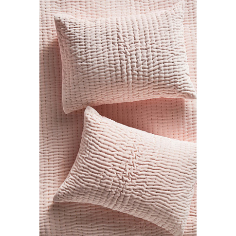 Set Of 2 Kantha-Stitched Velvet Pillowcases - Orange, Size Std Shams