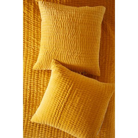 Kantha-Stitched Velvet Square Pillowcase - Yellow, S...