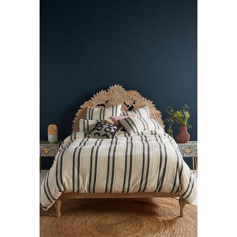 Woven Oliver Duvet Cover - Beige, Size Full