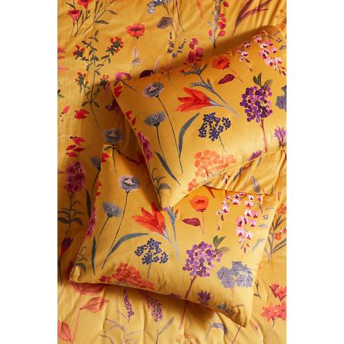 Set Of 2 Layne Velvet Pillowcases - Yellow, Size S2 Qn Sham