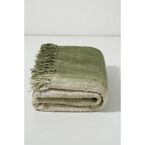 Ombre Fringed-Throw Blanket - Green