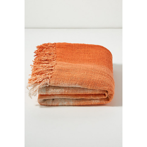 Ombre Fringed-Throw Blanket - Orange