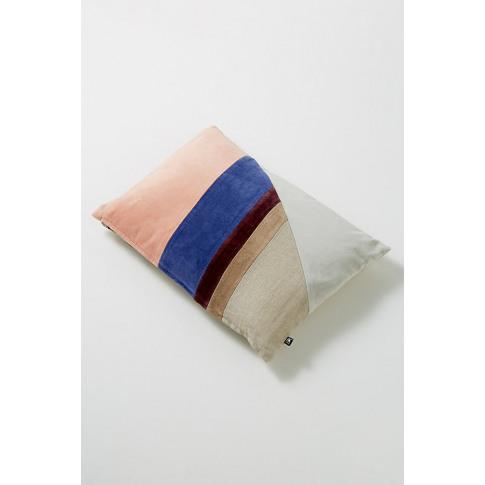 Colourblocked Velvet Cushion - Assorted