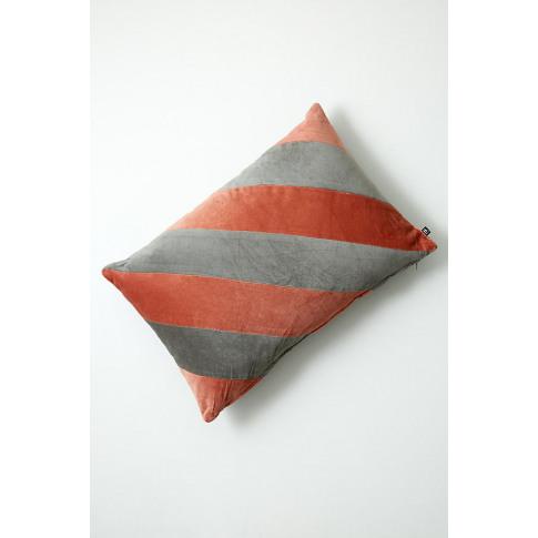 Asis Striped-Velvet Cushion - Pink