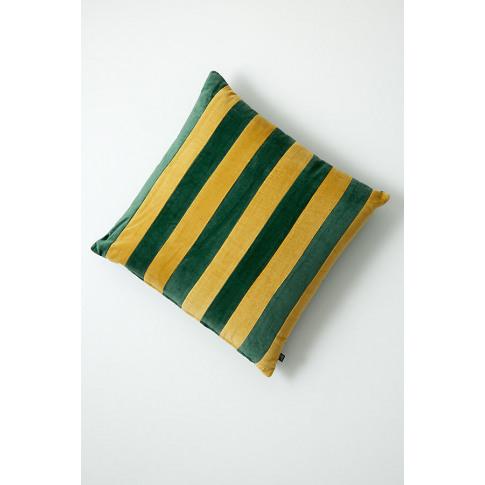 Ayah Striped-Velvet Cushion - Yellow