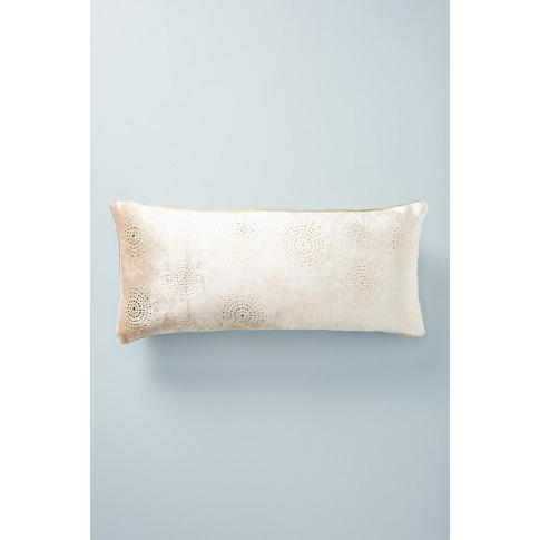 Gilded Velvet Cushion - Ivory, Size 12 X 27