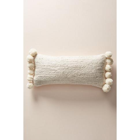 Pommed Jute Cushion - White, Size 12 X 27