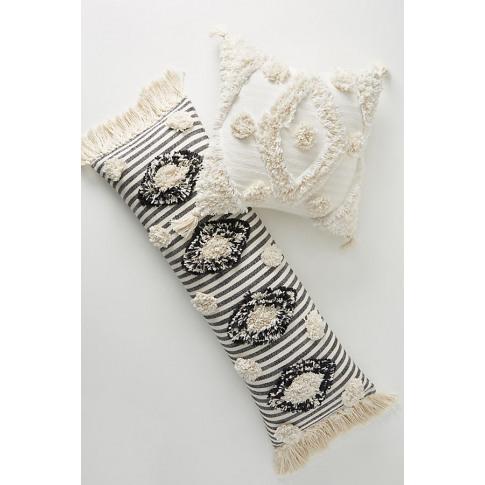 "Tufted Mila Cushion - White, Size 18"" Sq"