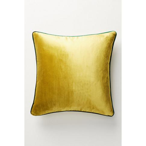 "Adelina Velvet Cushion - Yellow, Size 18"" Sq"